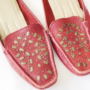 [ Nine West ] Red Vintage Leather Style Loafers